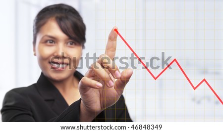 Asian businesswoman pointing growth graph,