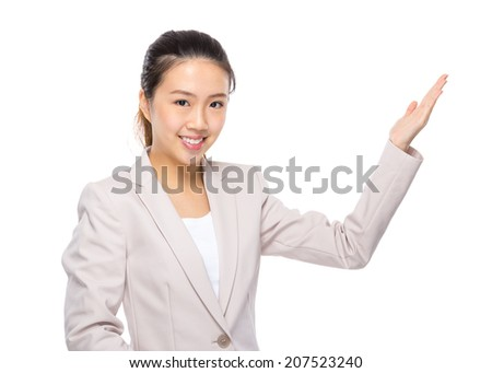 Asian businesswoman presentation on white background
