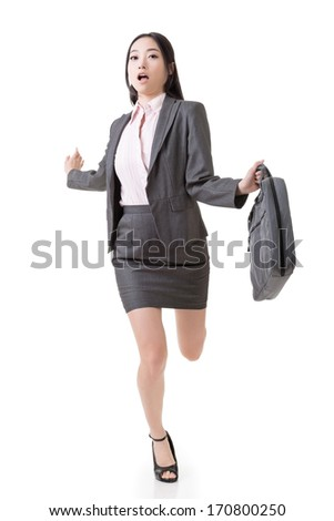 Asian businesswoman run and hold a briefcase, full length portrait isolated on white background. - stock photo