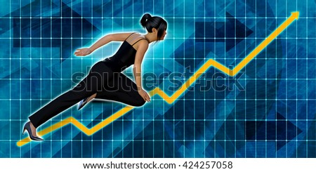 Asian Businesswoman Running with Chart Graph Background Art 3d Illustration Render - stock photo