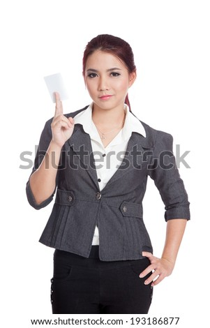 Asian businesswoman show a blank card with confidence isolated on white background