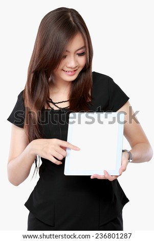 asian businesswoman showing blank screen tablet