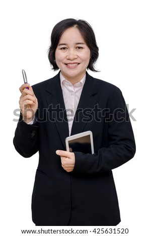 Asian businesswoman smiles over white background