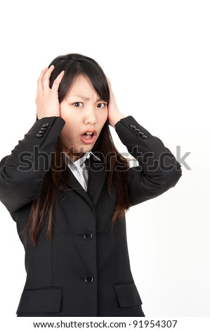asian businesswoman surprising - stock photo