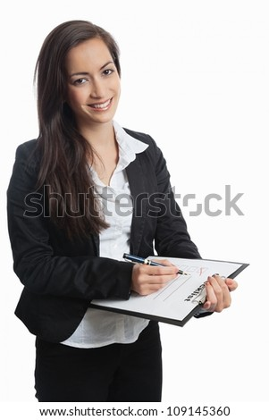 Asian Businesswoman with checklist on white background - stock photo