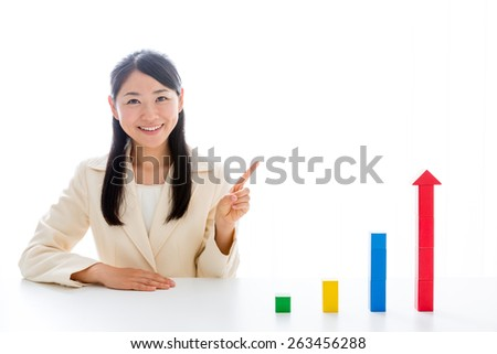 asian businesswoman with graph isolated on white background