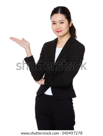 Asian Businesswoman with hand showing blank sign