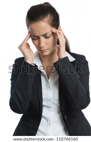 Asian Businesswoman with headache both hands on her head on white background - stock photo