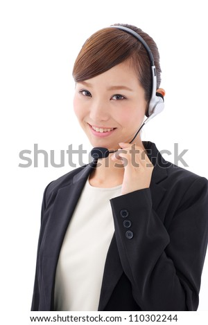 asian businesswoman with headset isolated on white background