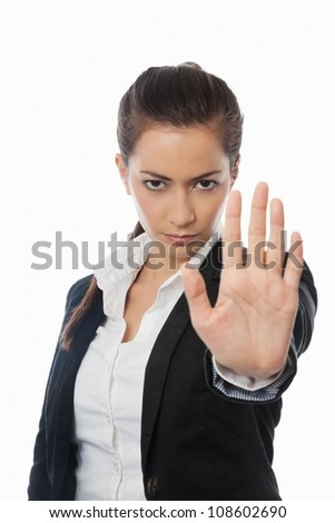 Asian Businesswoman with stop hand isolated on white - stock photo