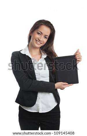Asian Businesswoman with tablet pc on white background - stock photo