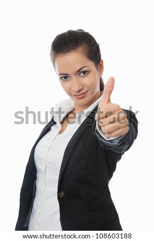 Asian Businesswoman with thumb up isolated on white - stock photo