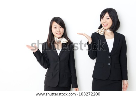 asian businesswomen showing on white background