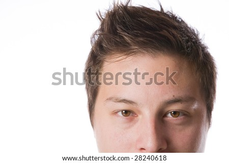 Asian Caucasian man isolated against white background