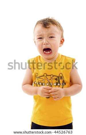 Asian / Caucasian mixed baby boy crying - isolated over a white background - stock photo