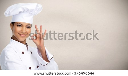 Asian chef woman. - stock photo