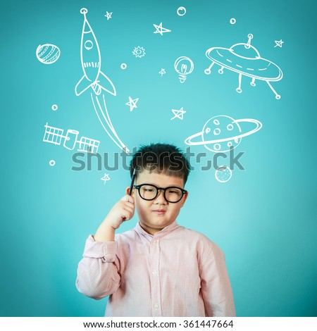 Asian Child boy Space Dream - stock photo
