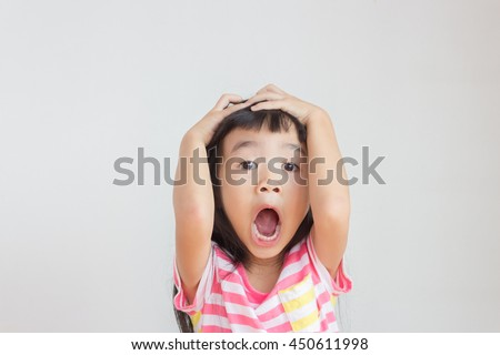 asian child feel strain,angry,bored - stock photo