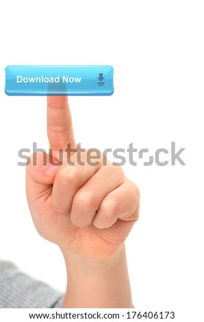 Asian Child finger touching a download button on virtual screen on white background