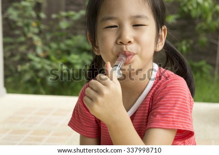 Asian child girl childhood medicine cold fever