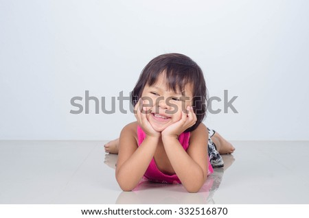 Asian Child Happy and Smile On Gray background