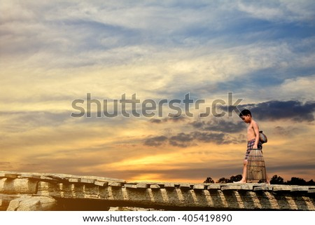 Asian children come back to home - stock photo