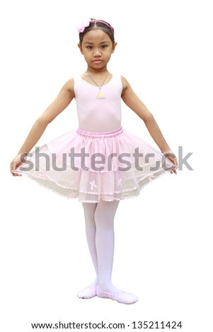 Asian children girl ballet dancer isolated on white background. Clipping path in the image.