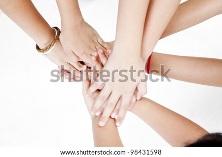 asian children's hands on a white background