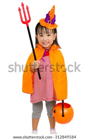 Asian Chinese Little girl celebrate Halloween studio shot. - stock photo