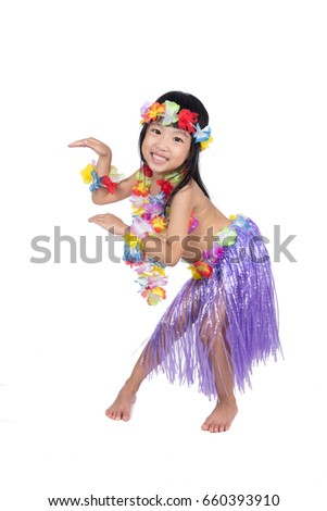 Asian Chinese little girl in hawaiian costume pretending to be a Hula Dancer in isolated white  sc 1 st  Shutterstock & Asian Chinese Little Girl Hawaiian Costume Stock Photo (Royalty Free ...