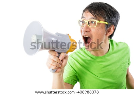 Asian Chinese Man Shouting with a Megaphone in isolated White Background - stock photo