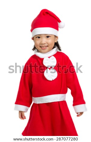 Asian Chinese santa girl in white background