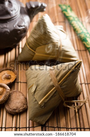Asian Chinese traditional rice dumplings - stock photo