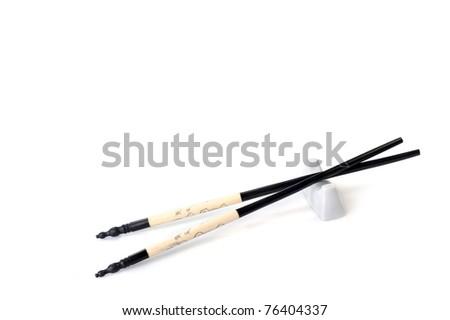 asian chopsticks isolated  on white close up - stock photo
