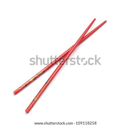 Asian chopsticks on white background - stock photo