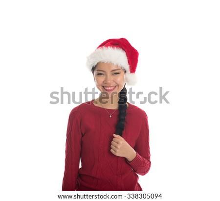 asian christmas girl - stock photo