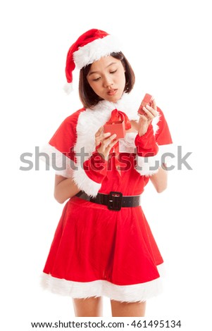 Asian Christmas Santa Claus girl and  gift box  isolated on white background .