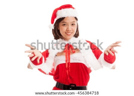 Asian Christmas Santa Claus girl  isolated on white background