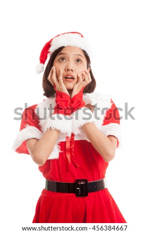 Asian Christmas Santa Claus girl  shock and look up  isolated on white background