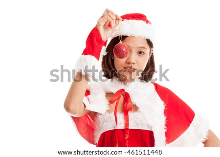Asian Christmas Santa Claus girl   with bauble ball  isolated on white background .