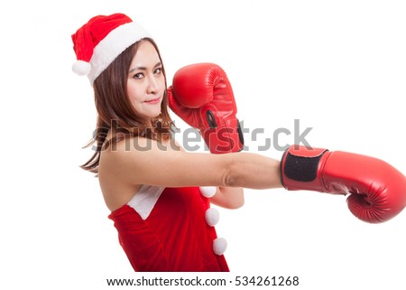 Asian Christmas Santa Claus girl  with boxing glove  isolated on white background.
