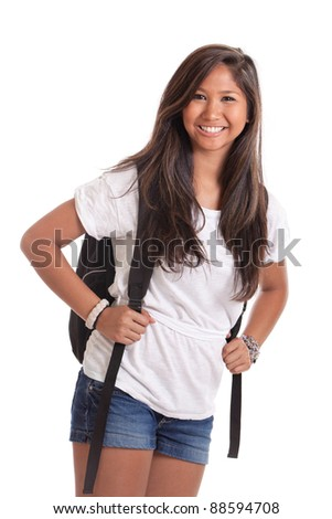 Asian college student with backpack isolated on a white background - stock photo