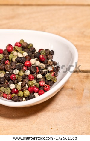 Asian colored dry peppers as background