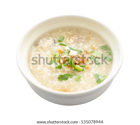 Asian congee round bowl on white background.