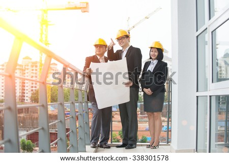 asian Construction personnel - stock photo