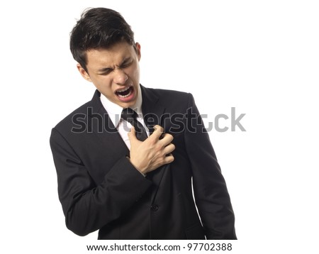 Asian Corporate Man having a Heart Burn - stock photo