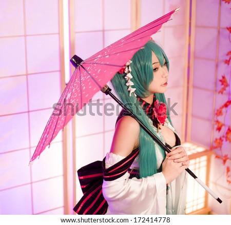 asian cosplay girl sakura Washitsu  - stock photo