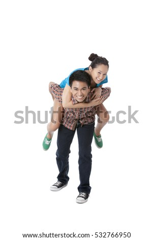 Asian couple casual clothing isolated on white background