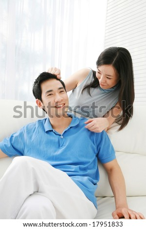 Asian Couple - enjoy happy lifestyle with beautiful young female and male on bright sunny day on white background