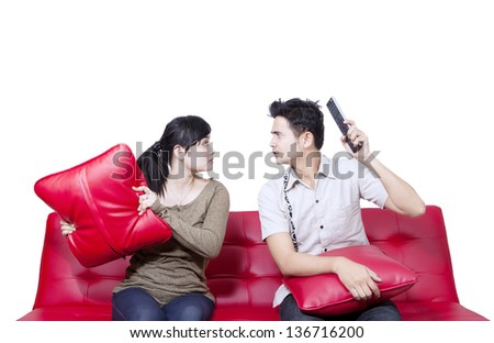 Asian couple fight on white background - stock photo